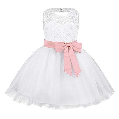 iiniim Baby Mädchen Kleid Prinzessin Kleid Hochzeit Blumenmädchenkleid Taufkleid Festlich Tutu Kleid Geburtstag Partykleid Babybekleidung Gr.62-92 Perle Rosa 62-68