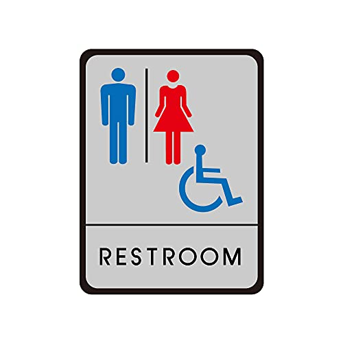★新商品★【サインキングダム】トイレ標識 サインプレート WC お手洗い 飲食店 男性用 女性用 共用 車イス対応 車椅子 障害者 障がい者 多目的 4種[gs-pl-toiK] (RESTROOM)