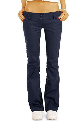 bestyledberlin BE Styled Damen Chinos - Stoffhosen - Bootcut Hüfthosen mit Stretch h17a 40/L Marineblau