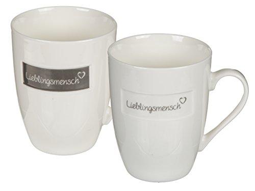 2er Set Tasse Lieblingsmensch Herz 2-fach sort. creme anthrazit Kaffeebecher