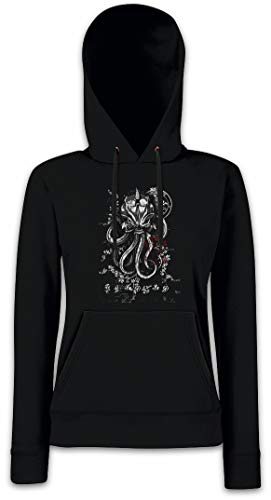 Urban Backwoods Asian Ornament Octopus Damen Kapuzenpullover Hoodie Schwarz Größe 2XL