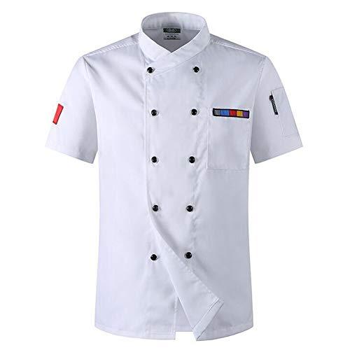 weiwei Sommer Atmungsaktiv Kurz Ärmel Koch Uniform Restaurant Küche Kochen Hemd Doppelt Gestillt Essen Bedienung Arbeit Jacke,Weiß,2XL