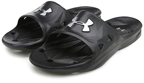 Under Armour Slides UA Locker III Chanclas de hombre, zapatos para playa de secado rápido, chanclas con correa ideales para el vestuario y la piscina, Black/Metallic Silver (001), 8
