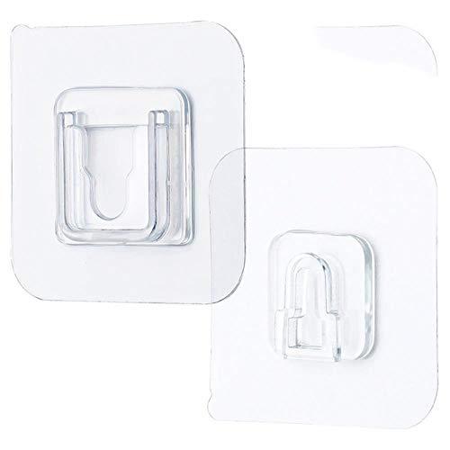 Ganchos de pared adhesivos de doble cara para colgar en la pared, con ventosa, 6 x 6 cm, 5 pares