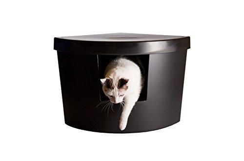 Kitangle Modern Cat Litter Box - Corner Kitty Black