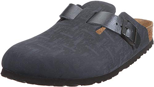 Birkenstock Boston , Zoccoli unisex adulto, Nero, 45(stretta)