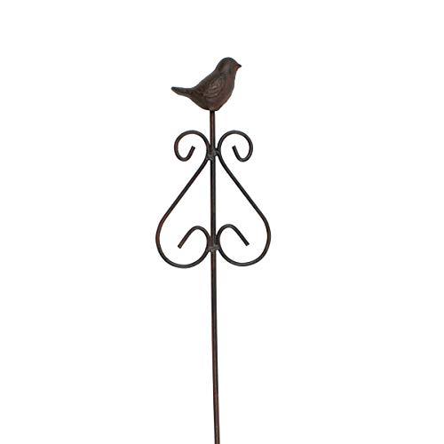 dekoo24 Beetstab Rankstab Herz mit Vogel massiv Eisen & Gusseisen Rankhilfe Gartendeko