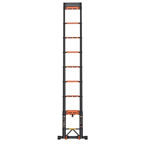 Escalera Extensible Telescópica Aluminio Telescópico Escaleras Rectas - Alto 3.5m/3.9m/4.7m/5.5m/5.9m, Portátil Bajo Techo, en Exteriores Escalera de Extensión con Barra Estabilizadora, 200kg de Capac