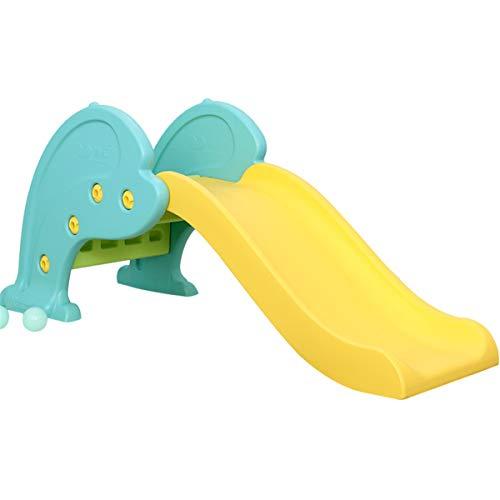 OMGPFR Tobogán de jardín para niños, Azul Toboganes Independientes para Interiores con Pendiente de Deslizamiento Larga Fácil Montaje para Niños pequeños Al Aire Libre Forma de delfín