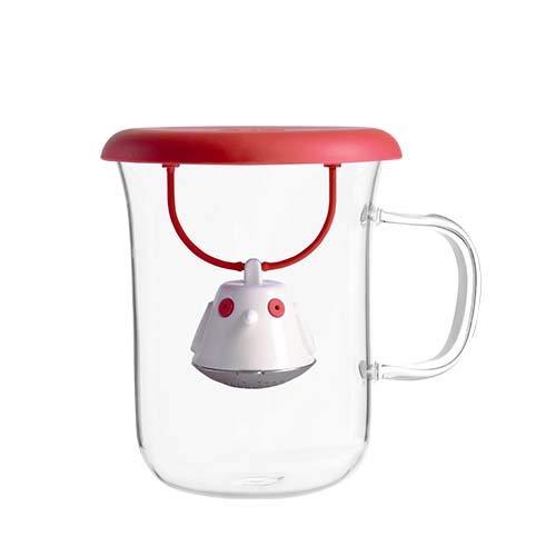 キュードー (Qdo) 北欧 デンマーク Birdie Swing バーディースウィング 小鳥 茶こし ティーストレーナー (耐熱ガラスカップ付き Black)