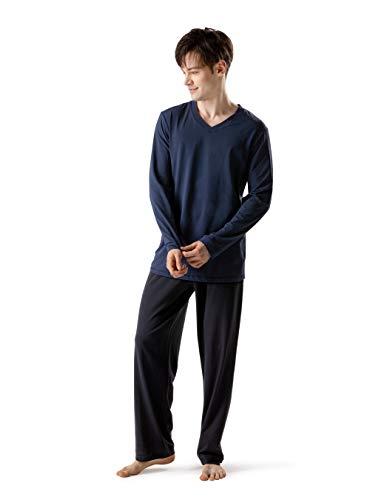 DAVID ARCHY Herren Baumwolle Schlafanzug Zweiteiliger Nachtwäsche Langarm Shirt und Loungehose mit V Ausschnitt Knopfleiste Taschen und Band