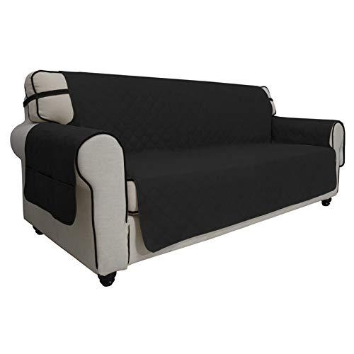 Easy-Going Funda de sofá impermeable de gran tamaño, antideslizante, para sofá de 3 cojines, sin costuras, protector de muebles de tela para mascotas, niños, perros (sofá de gran tamaño, negro)