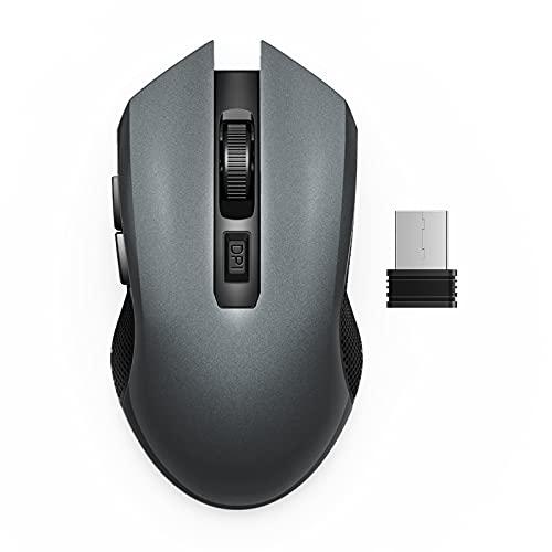Mouse Wireless, 2.4 GHz Mouse Senza Fili con Mini Ricevitore USB pre Notebook, PC, Laptop, Computer Mouse Wireless Ricaricabile con Clic Silenziosi,3 DPI Regolabili, 6 Pulsanti