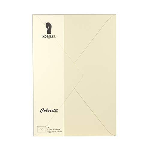 Rössler 220711512 Coloretti Briefumschläge, 80 g/m², C5, 5 Stück, creme