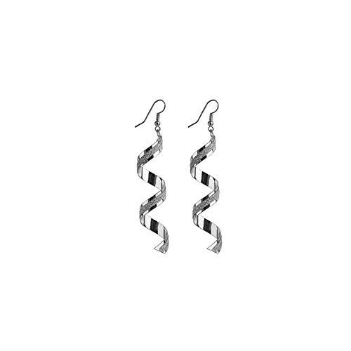 FANKUNYIZHOUSHI 1 par de Pendientes de Espiral geométricos Largos de Metal con diseño de Espiral, para Mujer, Plata