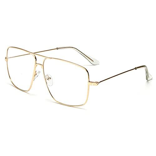 Dollger Classic Glasses Clear Lens Non Prescription Metal Frame Eyewear Men Women Gold