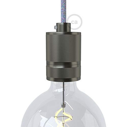 creative cables Kit Douille E27 en Aluminium moleté avec Double Bague pour Abat-Jour - Gunmeta