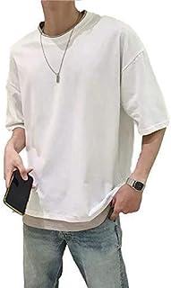 [フォーリーフ] カットソー クルーネック 丸首 5分袖 フェイクレイヤード 重ね着風 秋 メンズ