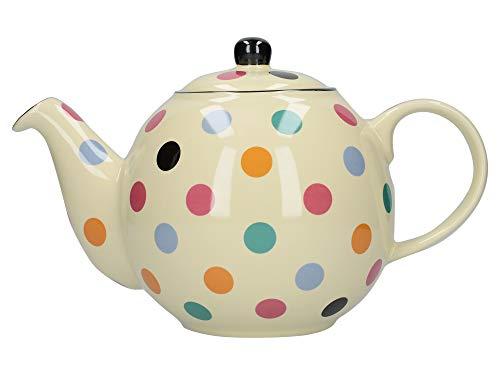 London Pottery Teekanne mit Sieb, Keramik, gepunktet, elfenbeinfarben/bunt gepunktet, 6 Tassen Kapazität, 1,2 L