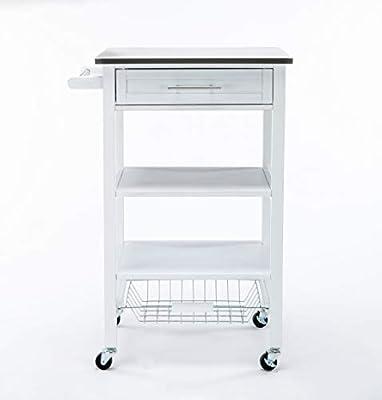 Boraam Hennington Kitchen Cart with Stainless Steel Top, White Wash by Boraam