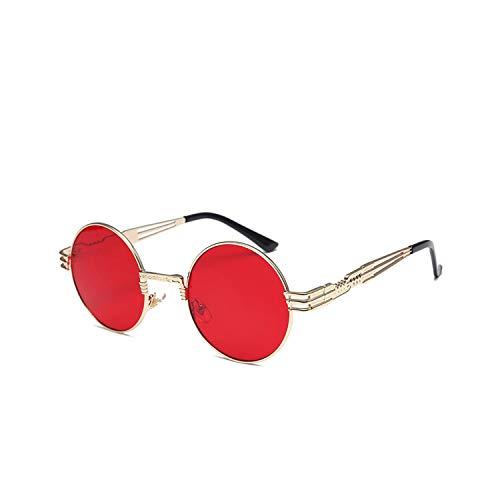 Preisvergleich Produktbild Sport-Sonnenbrillen,  Vintage Sonnenbrillen,  Vintage Retro Gothic Steampunk Spiegel Sunglasses Gold And Black Sun Glasses Vintage Round Circle Men UV Gafas De Sol Gold Red