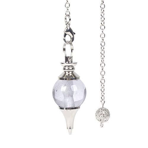 JUST IN STONES Natural Clear Quartz Gemstone Dowsing 40mm Crystal Healing Chakra Reiki Point Pendulum