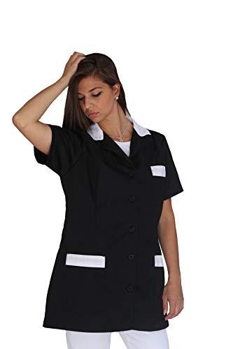 tessile astorino Bata de trabajo para mujer – Negro y blanco – Uniforme para maestra, empresas de limpieza, peluquería, peluquería, escuela infantil, casaca personalizada Negro y blanco. XL