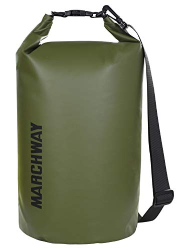 MARCHWAY Floating Waterproof Dry Bag 5L/10L/20L/30L/40L, Roll Top Sack Keeps Gear Dry for Kayaking, Rafting, Boating, Swimming, Camping, Hiking, Beach, Fishing (Army Green, 20L)
