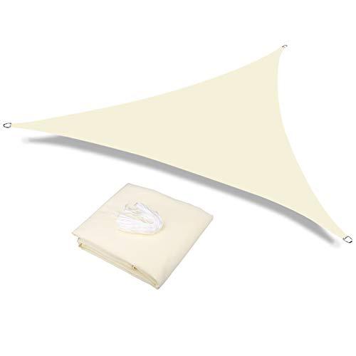 HEYOMART Sonnensegel Sonnenschutz inkl Befestigungsseile PES Polyester wasserabweisend Dreieck Sonnensegel mit 95% UV Schutz für Draußen, Patio, Garten Terrasse Camping (2 x 2 x 2m, Creme)