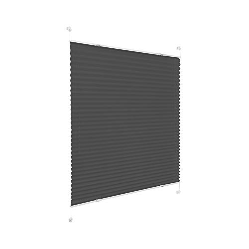 Victoria M. Praktica Plissee Faltrollo Plisseerollo, ohne Bohren, mit Klemmträgern für Fensterflügel 15-22 mm, Aluminiumschienen, aus Polyesterstoff, anthrazit, 35 x 100 cm