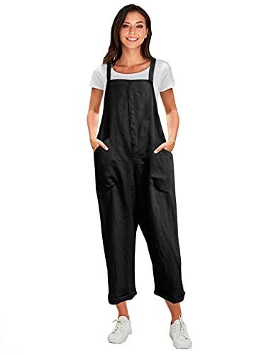 VONDA Latzhose Damen Elegant Klassisch Sommerhose Baumwolle Jumpsuit Lange Overall 1A-Schwarz M