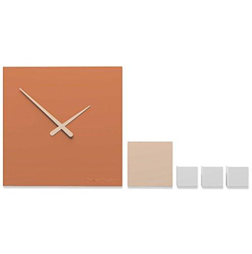 CalleaDesign Kubo - Reloj de pared moderno, color terracota