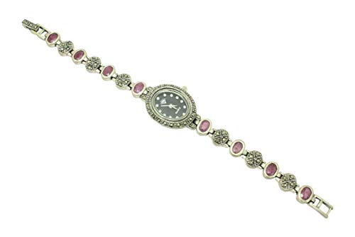 Rajasthan Gems - Reloj de pulsera para mujer, plata de ley 925, diseño de piedras de rubí marcasita 7.2 pies