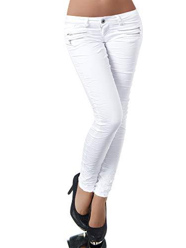 Damen Jeans Hose Hüfthose Damenjeans Hüftjeans Röhrenjeans Röhrenhose Röhre L851, Farbe: Weiß, Größe: 38