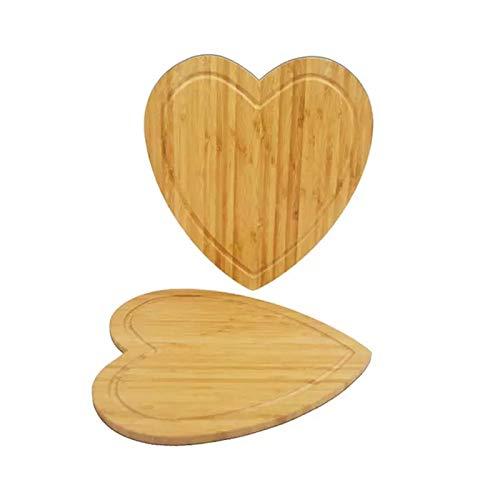 28x31.6cm Tabla de Corte en Forma de corazón Tablero de Queso Doble Laterales Disponibles Bambú Pastel Contaniero Bandeja de Frutas Bloques de Cocina