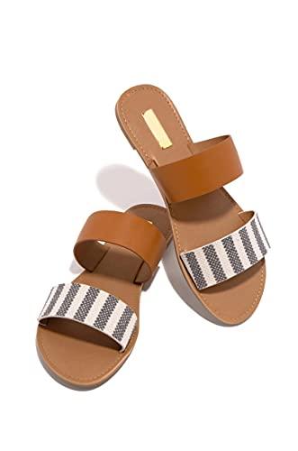 Zapatillas Casa Chanclas Sandalias Zapatillas Informales A Rayas Para Mujer, Zapatillas Planas Multicolores Para Mujer, Cómodas Para La Playa Al Aire Libre, Toboganes Para Mujer, Mujeres 42 Marró