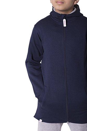 Girls Boys Unisex Plain High Low Long Hoodie (Navy, 13 Years)