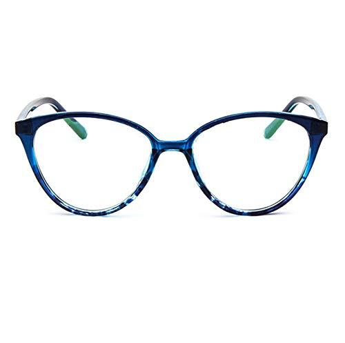 Without Marcos de Gafas Marco de espectáculo Negro Gato Gafas de Ojos Marco Lente Borrar Mujer Marca Eyewear Marcos ópticos Myopia TransparentTemplos para Gafas (Frame Color : Blue Flower)