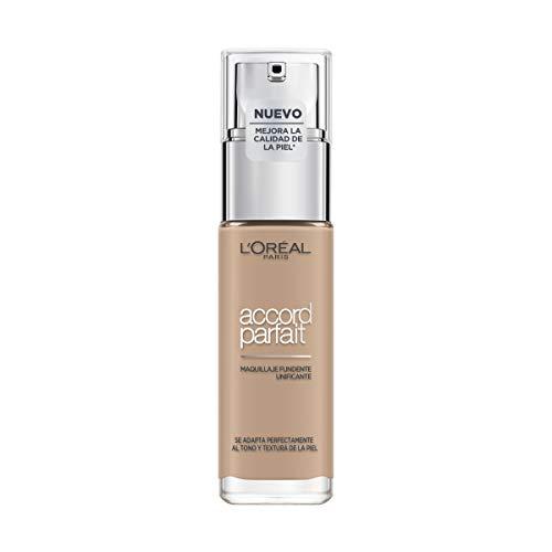L Oréal Paris Accord Parfait, Base de maquillaje acabado natural con ácido hialurónico, tono piel medio 4N, 30 ml