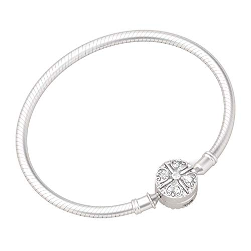GNOCE'Lucky You' 925 Sterling Silver Four-Leaf Clover Crystal Clasp Bracelet Bangle With Cubic Zirconia Fit All Major Brands Of Charms Bead Simple Basic Bracelet Gifts For Women (19 cm (7.5 in))