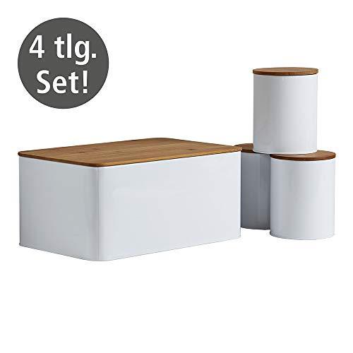 WENKO Brotkasten Set mit 3 Vorratsdosen - Brotbox mit integriertem Schneidebrett & 32x21x 5cm, Weiß
