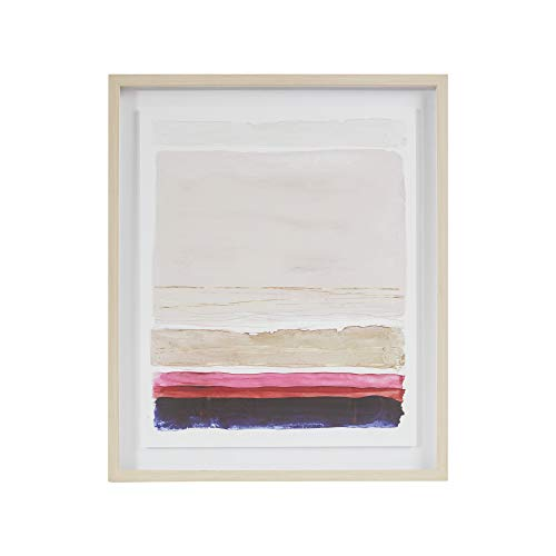 MARTHA STEWART Rothko's Stripes II Wall Art Living Room Glass Framed Canvas Home Accent Abstract Watercolor Bathroom Decoration, Ready to Hang Poster Painting for Bedroom, 21.1' X 25.1', Multi