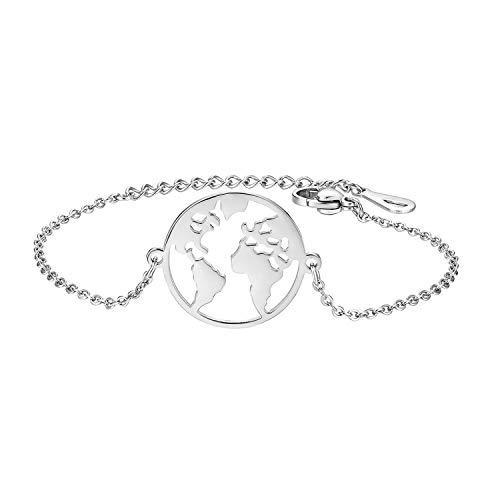 Cupimatch Pulsera con mapa del mundo para mujer, de acero inoxidable, ajustable,...