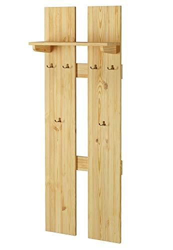 Erst-Holz® Breite Wand-Garderobe Kiefer massiv als Flurgarderobe oder Kleiderhaken mit Hutablage 90.80-10