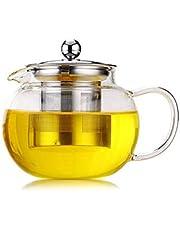 YUIO hoge temperatuur weerstand helder borosilicaat glas theepot elegant glas thee kopje theepot met roestvrijstalen Infuser (transparant(1300ml))