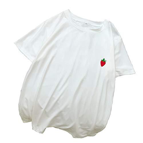 Handaxian Camiseta de algodón para Mujer Harajuku Suelta Casual Kawaii Estampado de Fresa Top 3 XL