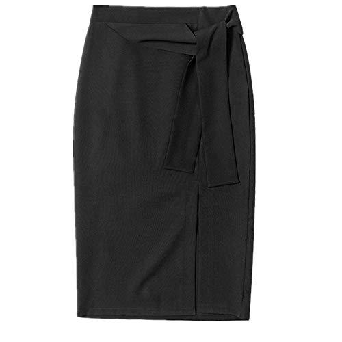 NOBRAND Verano Nueva Falda de Color Sólido con Vendaje Dividido, Mediano y Largo Buttock Falda Simple y Versátil Mujer Negro Negro ( 48