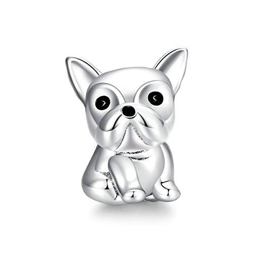 Abalorio de plata de ley 925 chapado en oro con forma de corazón de perro, compatible con pulseras y collares para mujer