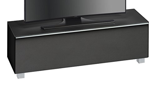 MAJA Möbel 7736 4573 Soundboard, schwarzglas matt / akustikstoff schwarz, Abmessungen 140,20 x 43,30 x 42 cm