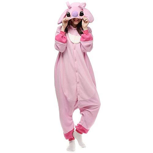 WEAKD Pijamas de Animales Pink Stitch Polar Fleece Disfraz General Pijamas de Dibujos Animados Halloween Carnival Masquerade Party Jumpsuit para Adultos,Pijamas de Puntadas Rosas,S